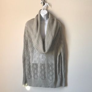 Apt 9 Gray Sparkly Crocheted Cowl Neck Sweater